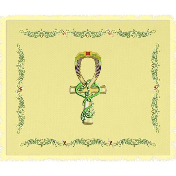Ankh with Double Jasmine Border Woven Blanket (L)