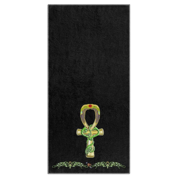 Ankh with Double Jasmine Border Beach Towel (HD)