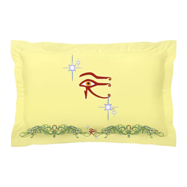 Eye of Isis/Auset with Double Jasmine Border Pillow Sham