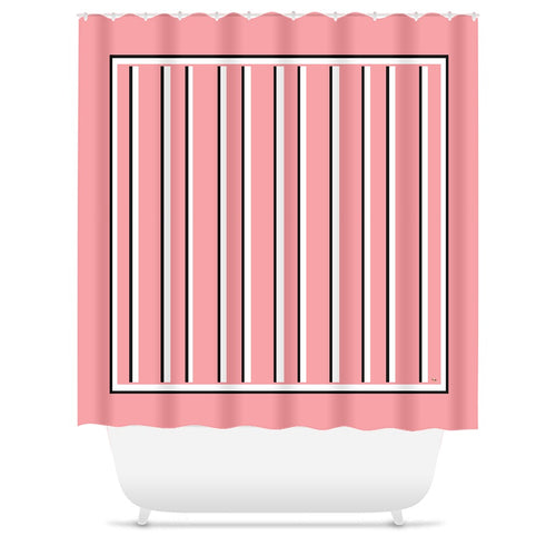 Love Stripes with Border Shower Curtain