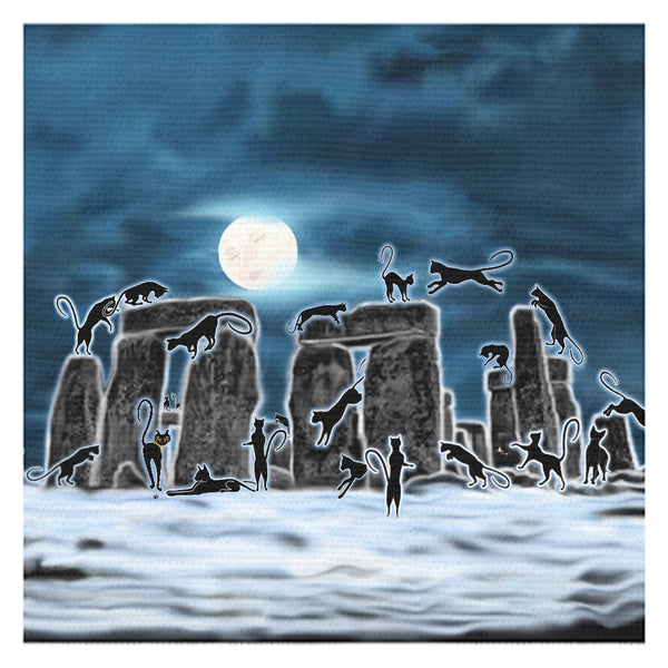 Bast Moon Over Stonehenge Tablecloth