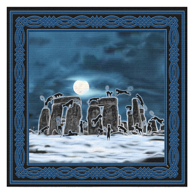 Bast Moon Over Stonehenge with Knotwork Frame Tablecloth