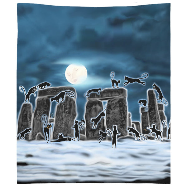 Bast Moon Over Stonehenge Tapestry (P)