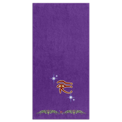 Eye of Isis/Auset with Double Jasmine Border Bath Towel (HD)