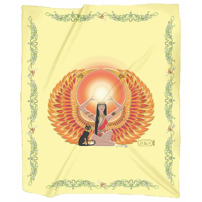 Isis/Auset with Double Jasmine Border Jersey Blanket (P)