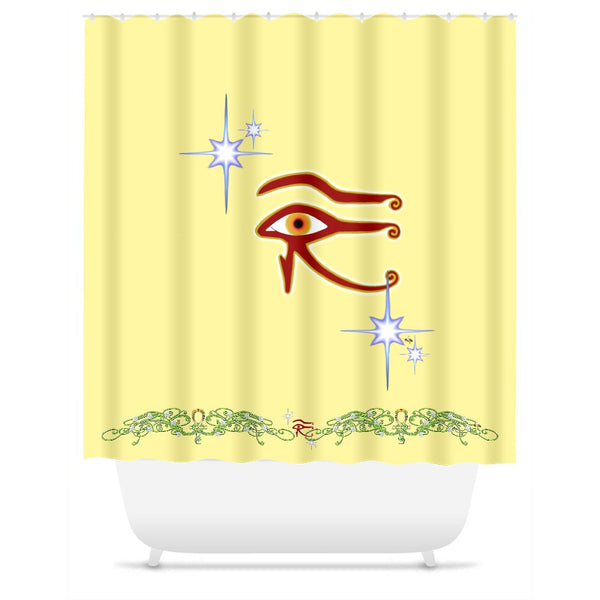 Eye of Isis/Auset with Double Jasmine Border Shower Curtain
