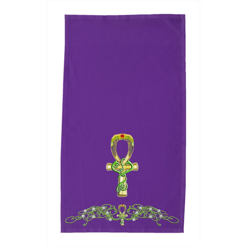Ankh with Jasmine Border Tea Towel (HD)