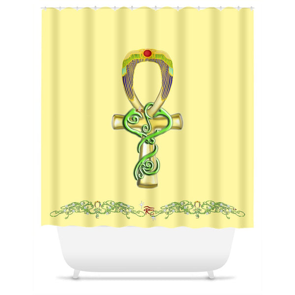 Ankh with Double Jasmine Border Shower Curtain