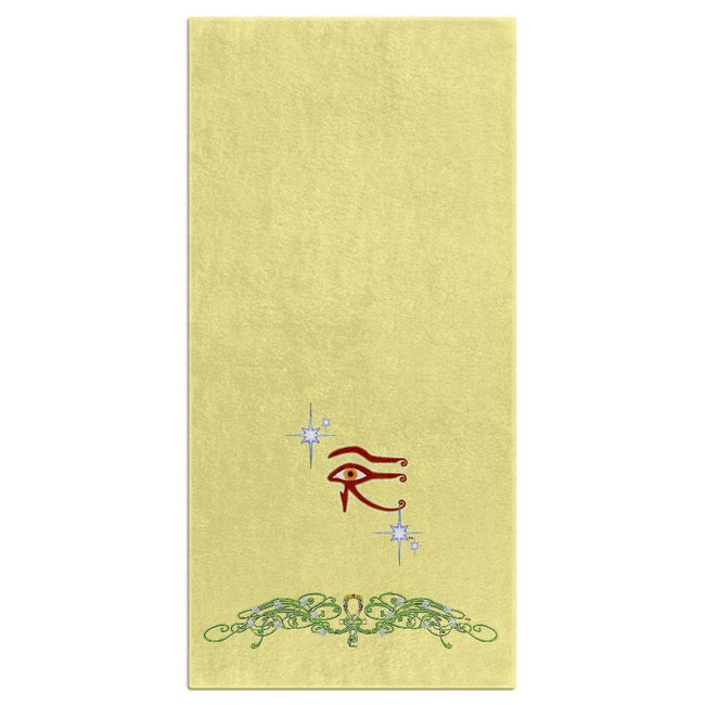 Eye of Isis/Auset with Jasmine Border Bath Towel (HD)