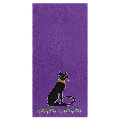 Bast with Double Jasmine Border Beach Towel (HD)