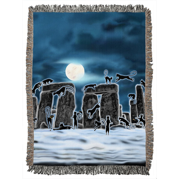 Bast Moon Over Stonehenge Woven Blanket