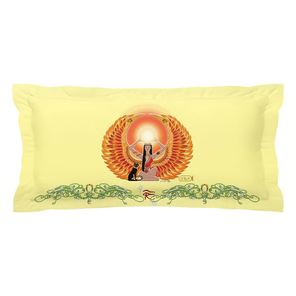 Isis/Auset with Double Jasmine Border Pillow Sham