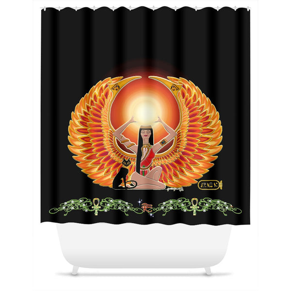 Isis/Auset with Double Jasmine Border Shower Curtain