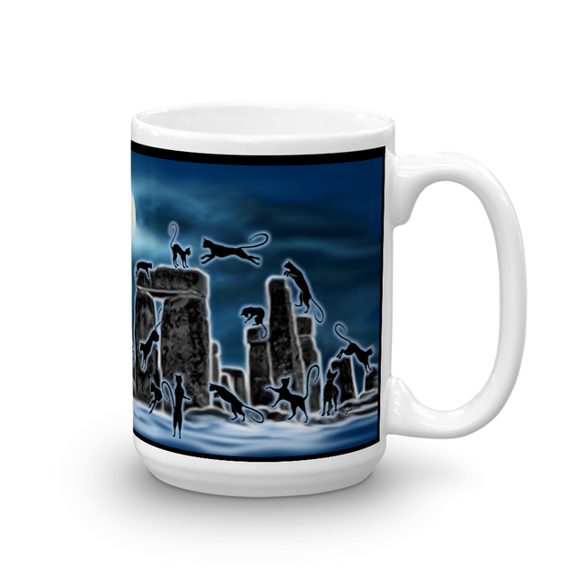 Bast Moon Over Stonehenge Mug