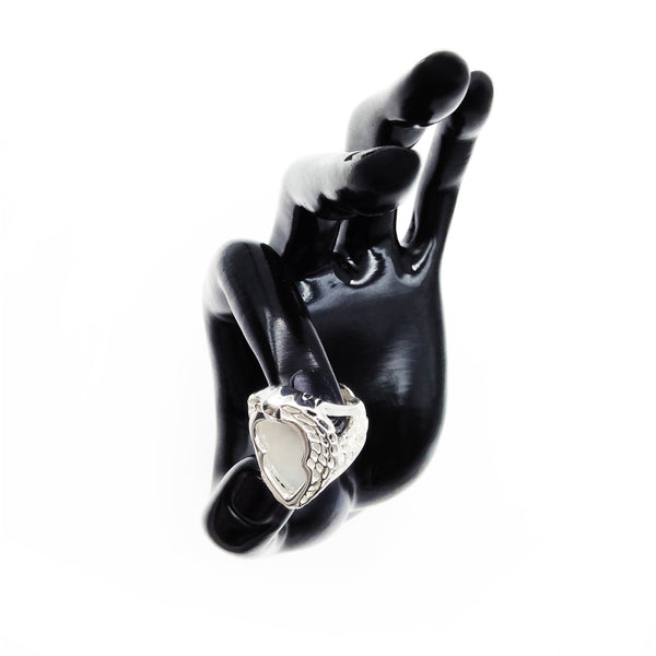Phoenix Wing 925 Sterling Silver Filigree White Onyx Ring