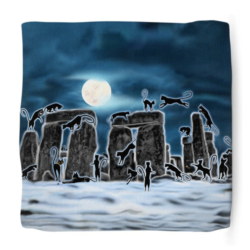 Bast Moon Over Stonehenge Ottoman