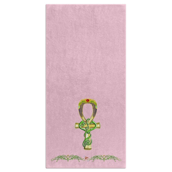 Ankh with Jasmine Border Bath Towel (HD)