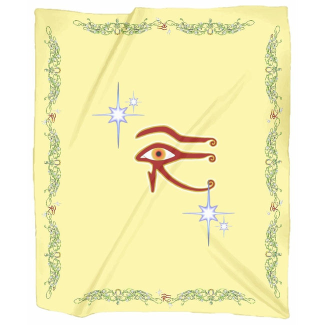Eye of Isis/Auset with Double Jasmine Border Jersey Blanket (P)