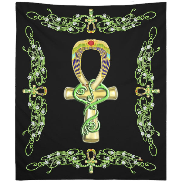 Ankh with Jasmine Border Tapestry (P)