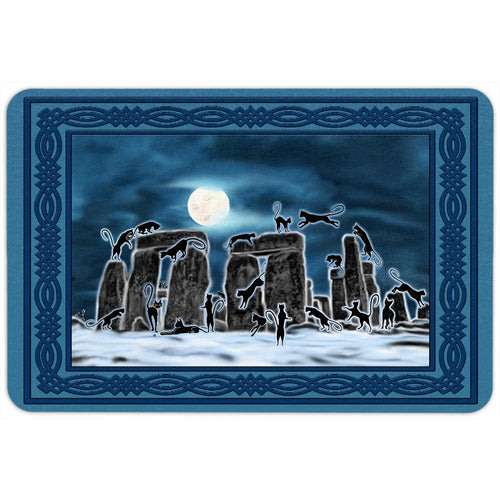 Bast Moon Over Stonehenge with Knotwork Frame Floor Mat