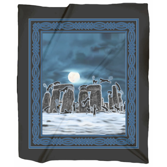 Bast Moon Over Stonehenge with Knotwork Frame Jersey Blanket