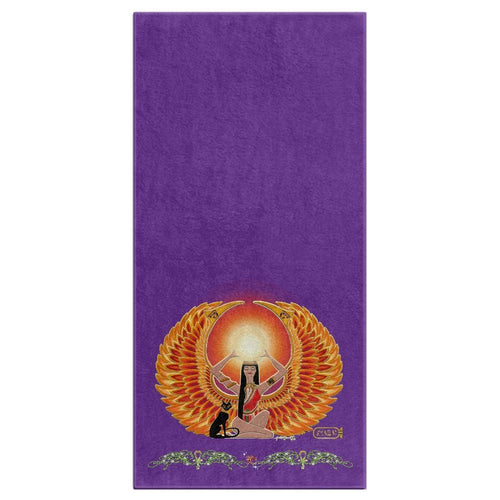 Isis/Auset with Double Jasmine Border Bath Towel (HD)
