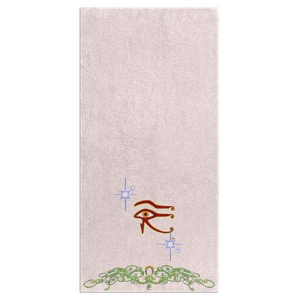 Eye of Isis/Auset with Double Jasmine Border Beach Towel (HD)