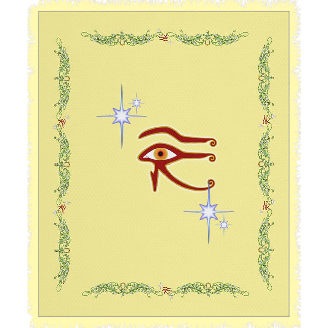 Eye of Isis/Auset with Double Jasmine Border Woven Blanket (P)