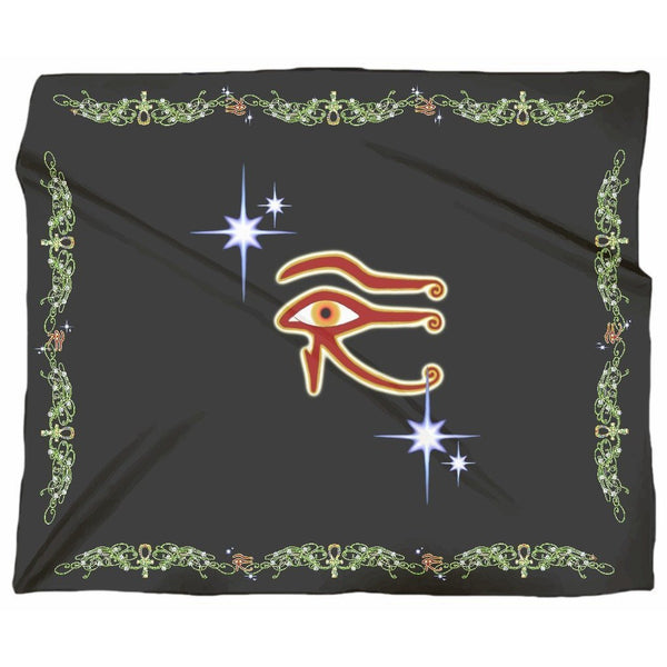 Eye of Isis/Auset with Double Jasmine Border Jersey Blanket (L)