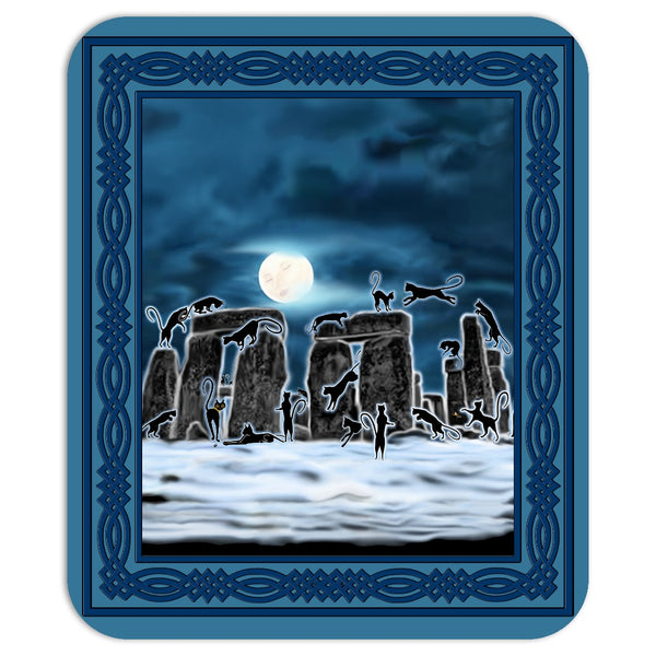 Bast Moon Over Stonehenge with Border Mouse Pad