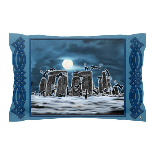 Bast Moon Over Stonehenge with Knotwork Bracket Pillow Sham