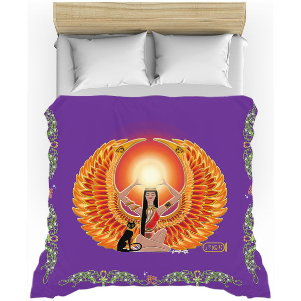 Isis/Auset with Double Jasmine Border Duvet Cover