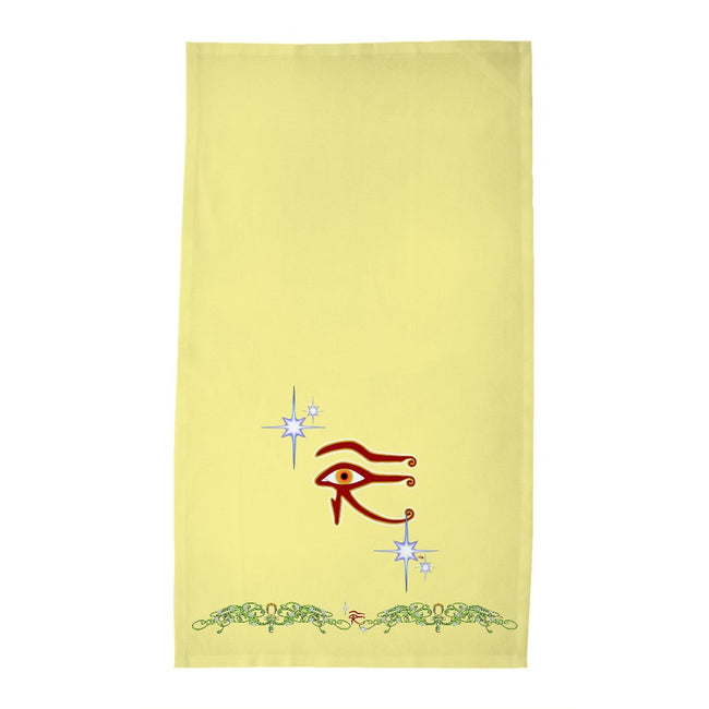 Eye of Isis/Auset with Double Jasmine Border Tea Towel (HD)