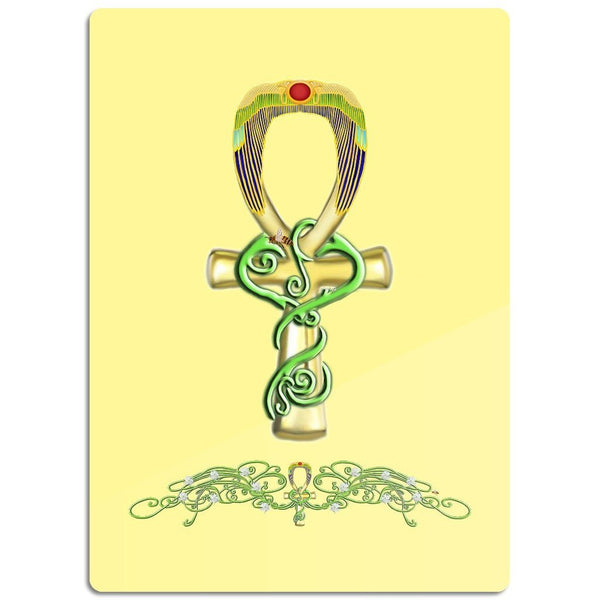 Ankh with Jasmine Border Glass Cutting Board