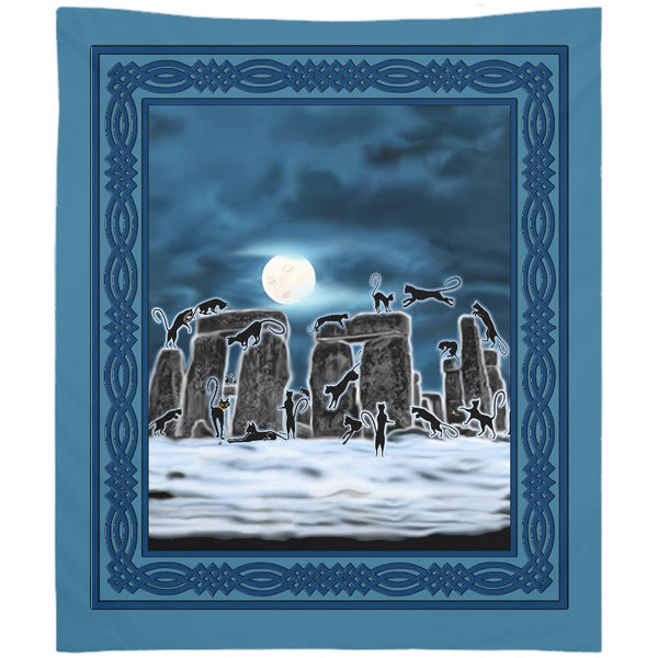 Bast Moon Over Stonehenge with Knotwork Frame Tapestry (P)
