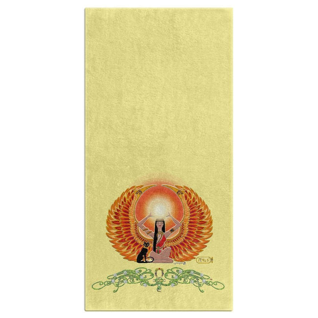 Isis/Auset with Jasmine Border Bath Towel (HD)