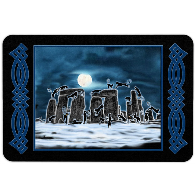 Bast Moon Over Stonehenge with Knotwork Bracket Floor Mat