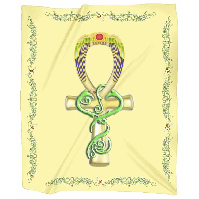 Ankh with Double Jasmine Border Jersey Blanket (P)