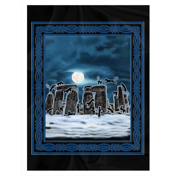 Bast Moon Over Stonehenge with Knotwork Frame Sherpa Blanket