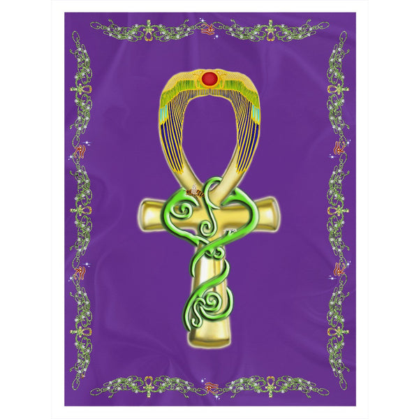 Ankh with Double Jasmine Border Sherpa Blanket (P)