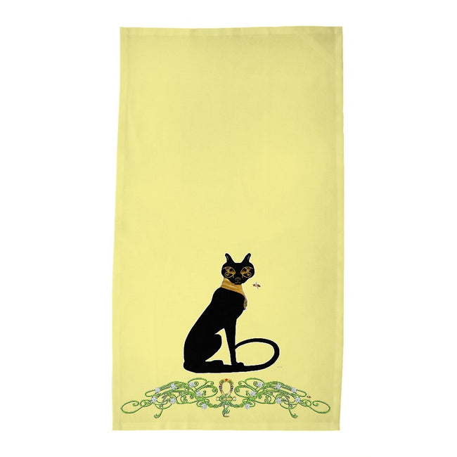 Bast with Jasmine Border Tea Towel (HD)