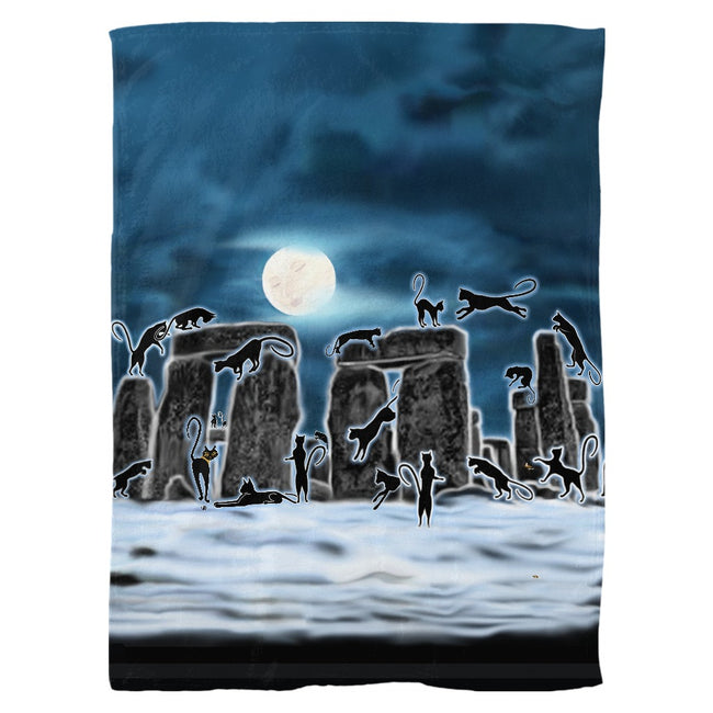 Bast Moon Over Stonehenge Fleece Blanket
