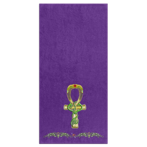 Ankh with Double Jasmine Border Bath Towel (HD)