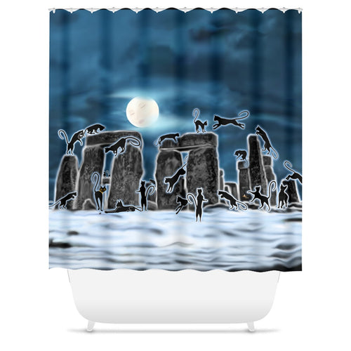 Bast Moon Over Stonehenge Shower Curtains