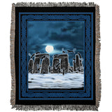 Bast Moon Over Stonehenge with Knotwork Frame Woven Blanket