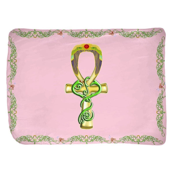 Ankh with Double Jasmine Border Velveteen Blanket (L)