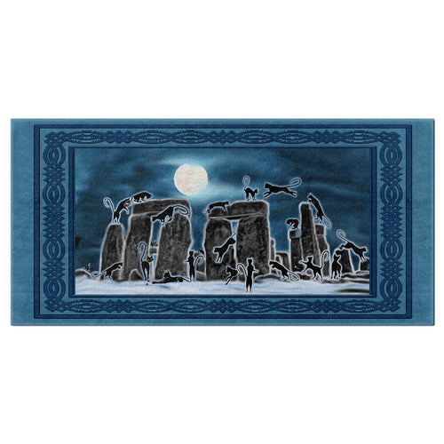 Bast Moon Over Stonehenge with Knotwork Frame Bath Towel