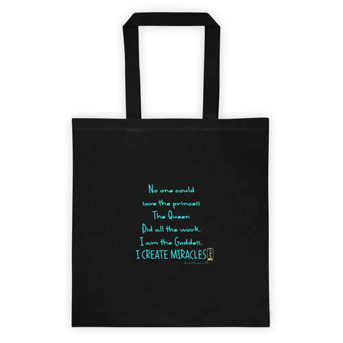 I am the Goddess (Turquoise) Black Tote Bag