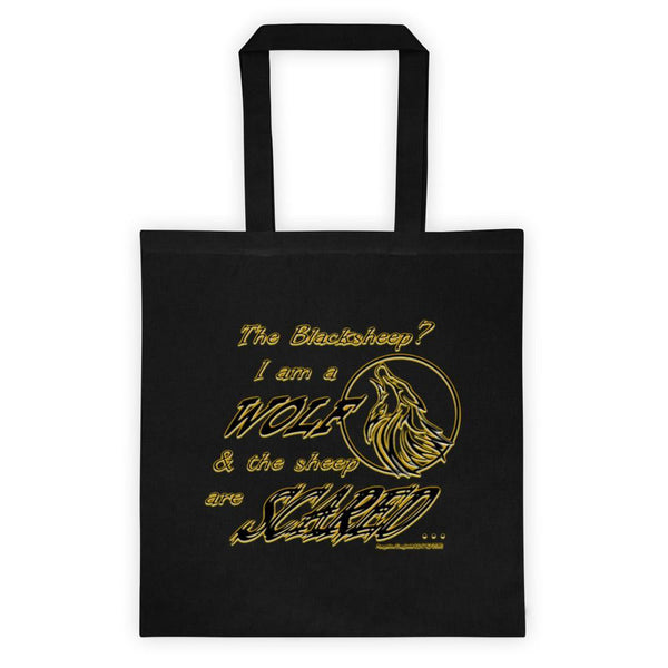 I am a Wolf with Gold Shadow Black Tote Bag (TS)