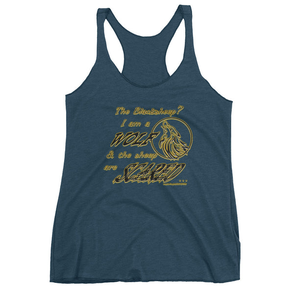 I am a Wolf with Gold Shadow Women's Racer-Back Tank Top